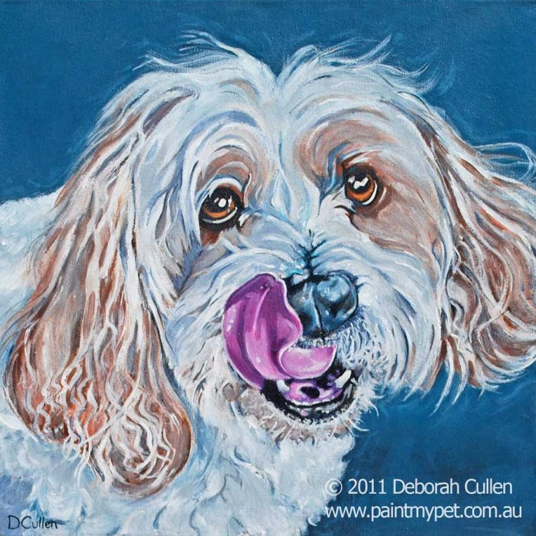 Maltese Terrier dog painting