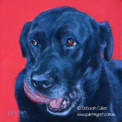 Black Labrador painting