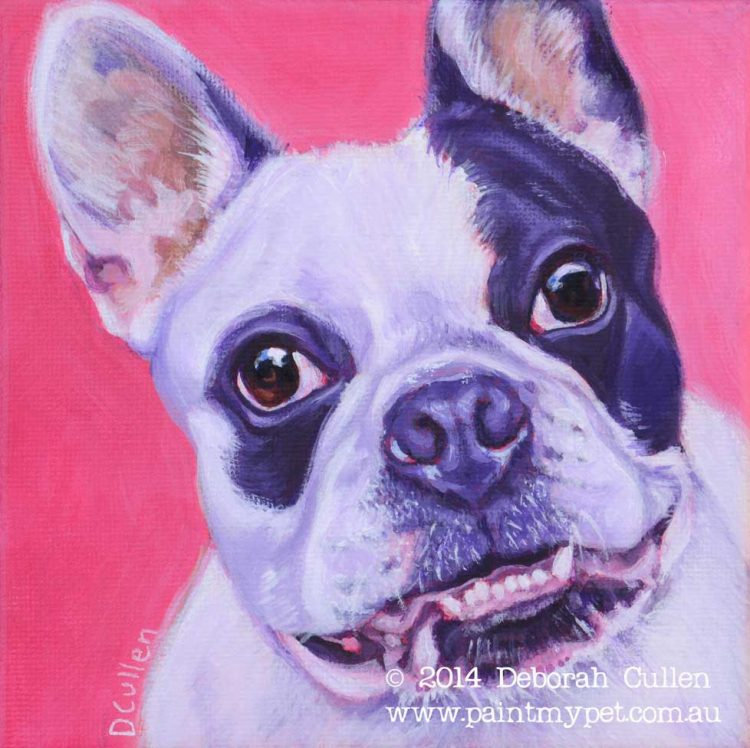 Dog painting of a French Bulldog