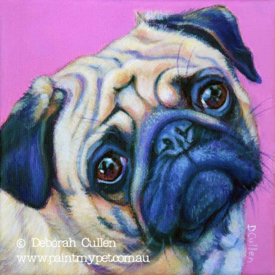 Dog portrait of a Pug - paintmypet