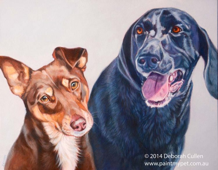 Pet portrait painting two dogs