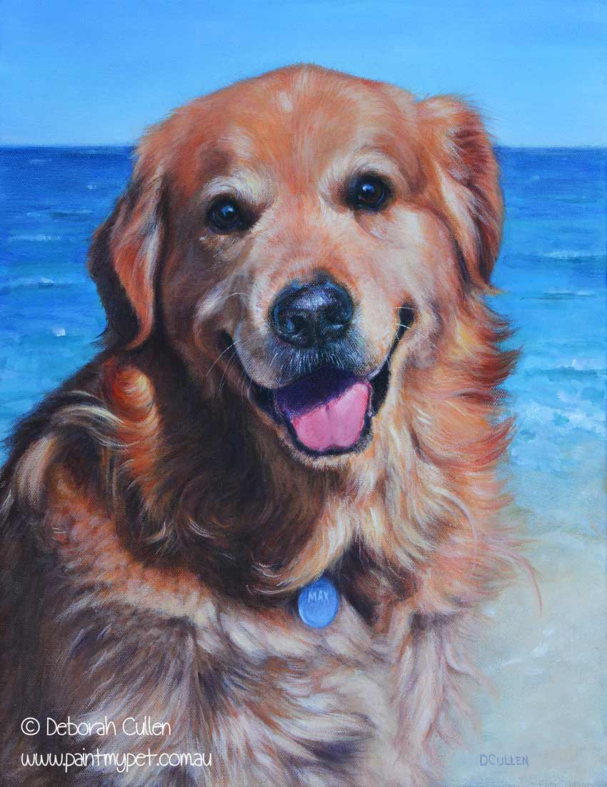 golden retriever dog portrait painting