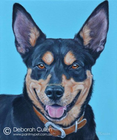 Digger, Hunterway Kelpie painting