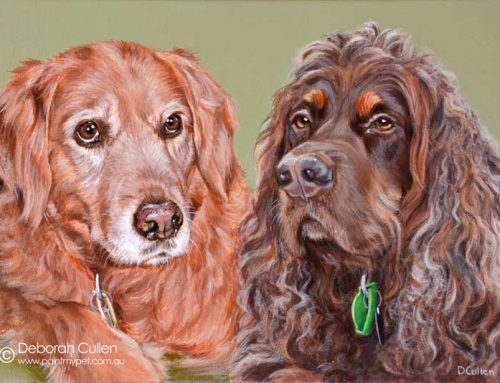 Bonnie – Golden Retriever, and Maggie – Gordon Setter Dog Painting