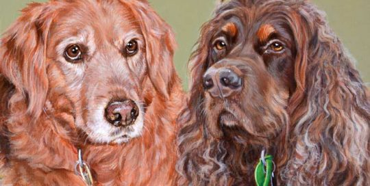 Pet painting of Bonnie and Maggie