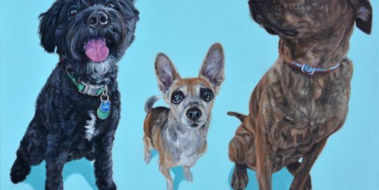 Acrylic painting of three dogs.